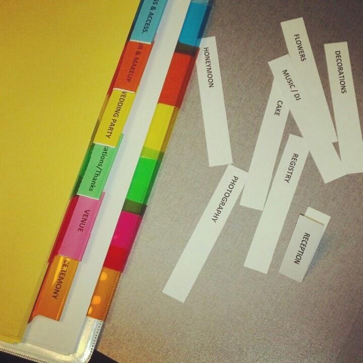 Wedding Planning Scrapbooking - Wedding binder organization