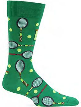These Men's Tennis sock are a fun and fashionable style best served in pairs. - Approximately Fits Men's Shoe Size 6-13. - 50% Cotton, 27% Polyester, 21% Nylon, & 2% Spandex. - Crew Style.