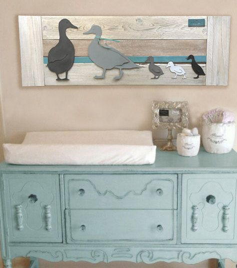 Duck Nursery Wall Art Grey ducks/Turquoise stripe by Authenticaa