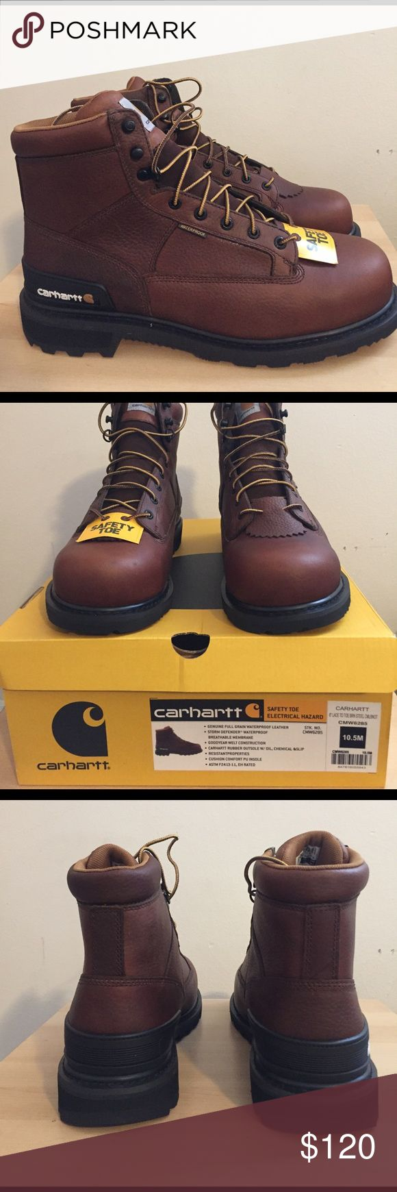 """Brand New Carhartt 6"""" Steel Toe Work Boot CMW6285 Camel brown oil tanned leather upper Storm Defender waterproof breathable membrane Goodyear welt construction with Carhartt rubber outsole PU strobel pad with PU cushion insoles TPU heel stabilizer and lace in kiltie Steel-Toe rated ASTM 2413-11 EH Carhartt Shoes Boots"""