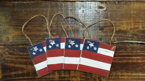 Distressed Rustic Wooden American Flag Tags, 4th of July Decor, Grungy Primitive Wooden Flag , Primitive Wooden Door Hanger, Set of 4