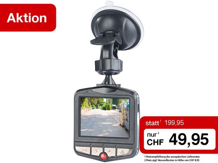 """Ihr zuverlässiger Augenzeuge an Bord: Die hochauflösende Autokamera zeichnet Ihre Fahrt in Full HD auf. Dank Bewegungs- und Beschleunigungs-Sensor bei Bedarf auch automatisch.  Sie erhalten die Full-HD-Dashcam mit G-Sensor, 2,3""""-Display nur 1 Woche lang zum einmaligen Sonderpreis.  Jetzt bestellen: http://www.pearl.ch/so/search.do?catc1=1321-12+1322-12&pdid=CHA4233+CH626&vid=613&wa_id=26&wa_num=1"""
