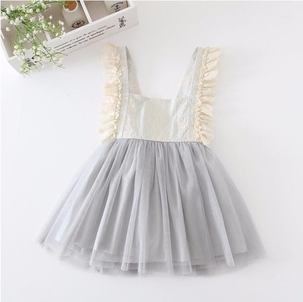 Girls Lace Pinafore Dress Gray Cream Birthday Party Wedding Easter Tutu 2T-6 NEW
