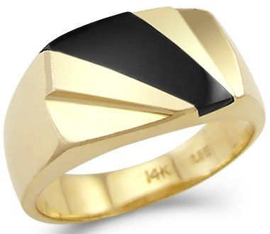 New Solid 14k Yellow Gold Heavy Ladies Mens Onyx Ring $521.00 (save $394.00)