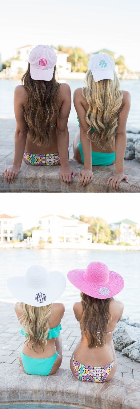 Monogrammed hats are great for the beach or pool. Which color is your favorite? Get them now at the Pink Lily!