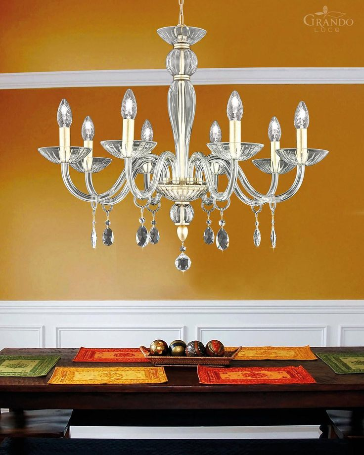 112/8 CH gold leaf crystal chandelier with Swarovski Elements. - GrandoLuce