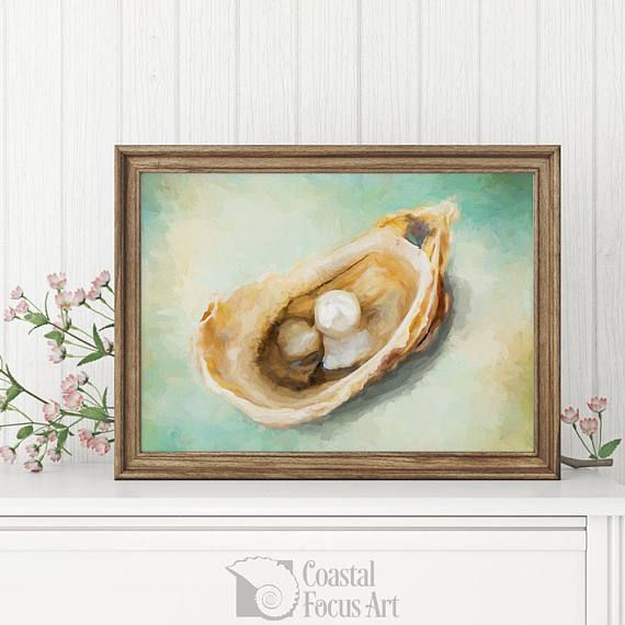 """Oyster food art digital painting art print wall art coastal art coastal decor home decor living room decor housewarming gift by CoastalFocusArt 