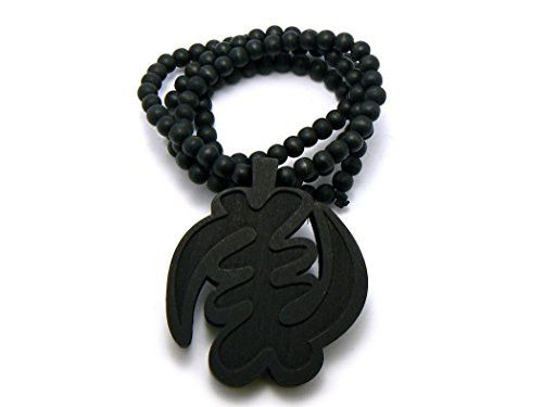 NYAME God is King African Symbol Pendant Wooden Bead Necklace