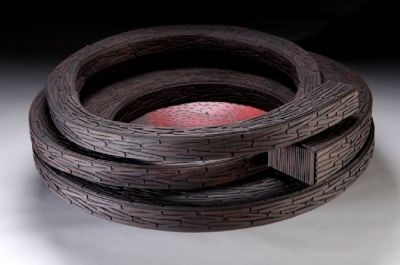 """Carved and constructed wet-formed leather sculpture with acrylic paint. """"Untitled 2007/6"""" by Tanija & Graham Carr."""