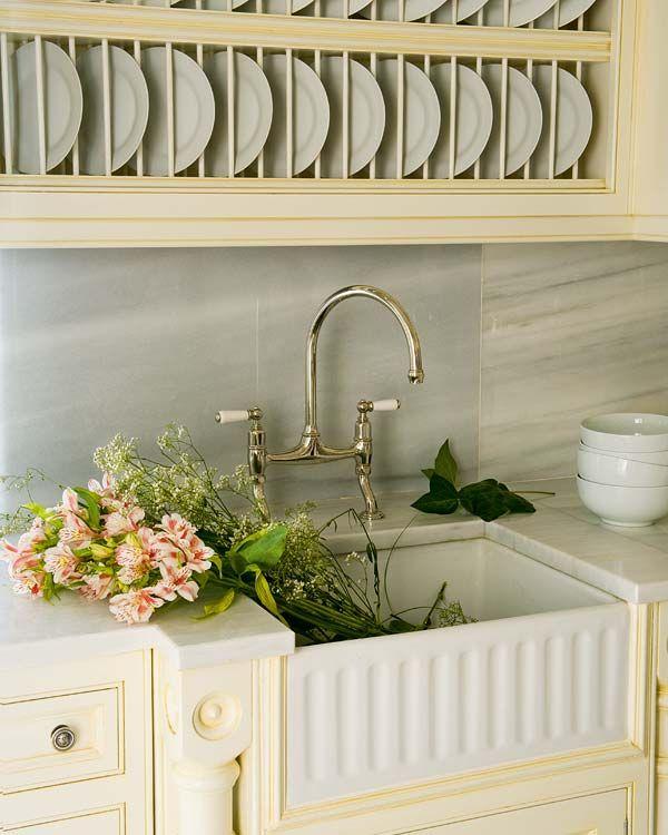 elegant mess- swan neck faucet & apron sink. designed by us @ nikohl cadeau interiors