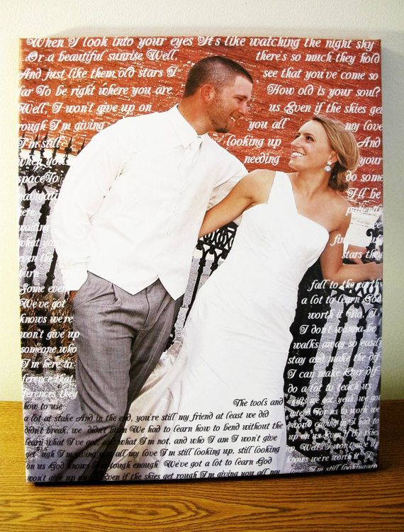 Wedding Custom Canvas Print. Gallery Wrapped. First dance, Wedding Songs, Lyrics...Add any Words to your Canvas. Perfect Custom Wall Decor.