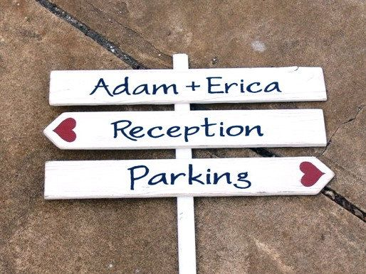 CUSTOM Wood Wedding DIRECTIONAL Signs. Made to Order. HANDPAINTED. Three Piece Sign - Names, Reception, Parking.. $75.00, via Etsy.