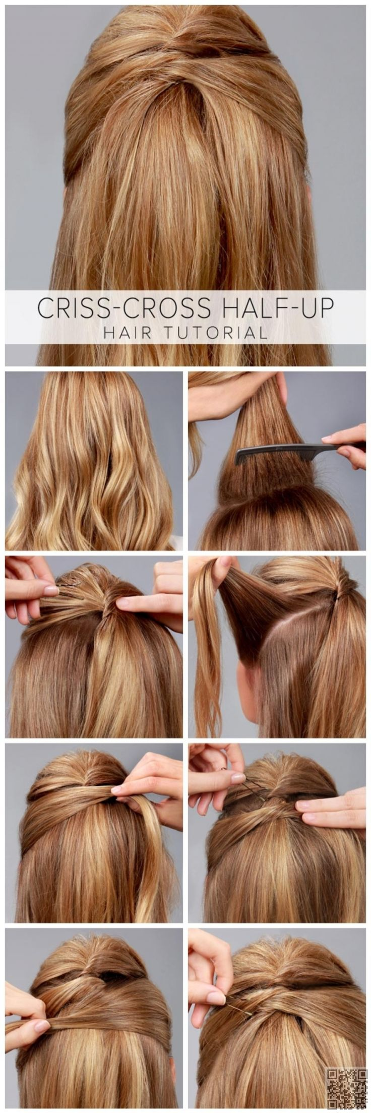 7. #Criss-Cross Half-up - So #Sweet for Summer! Try #These 23 Half up, Half down Hair Styles ... → Hair #French