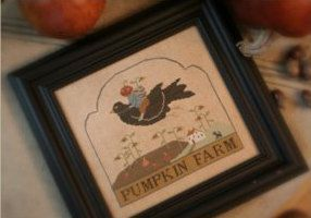 Pumpkin Farm cross stitch patterns With Thy Needle & Thread at thecottageneedle.com Thanksgiving primitive harvest hand embroidery by thecottageneedle