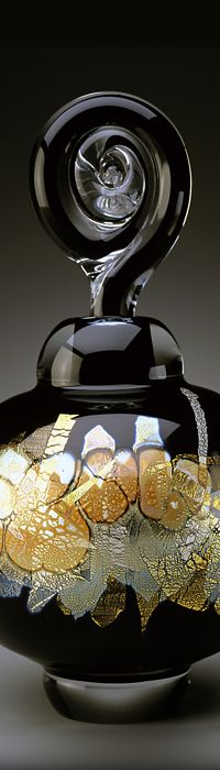 Sharon Fujimoto Hand Blown Art Glass perfume bottle
