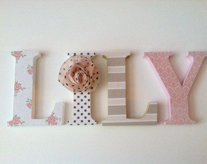 Letras de madera para dormitorio deletrear el nombre de su - Ideas para decorar letras de madera ...