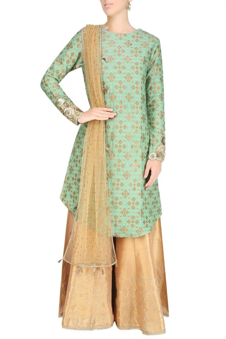 Sage green zardozi embroidered kurta with golden shimmer sharara pants available only at Pernia's Pop Up Shop.