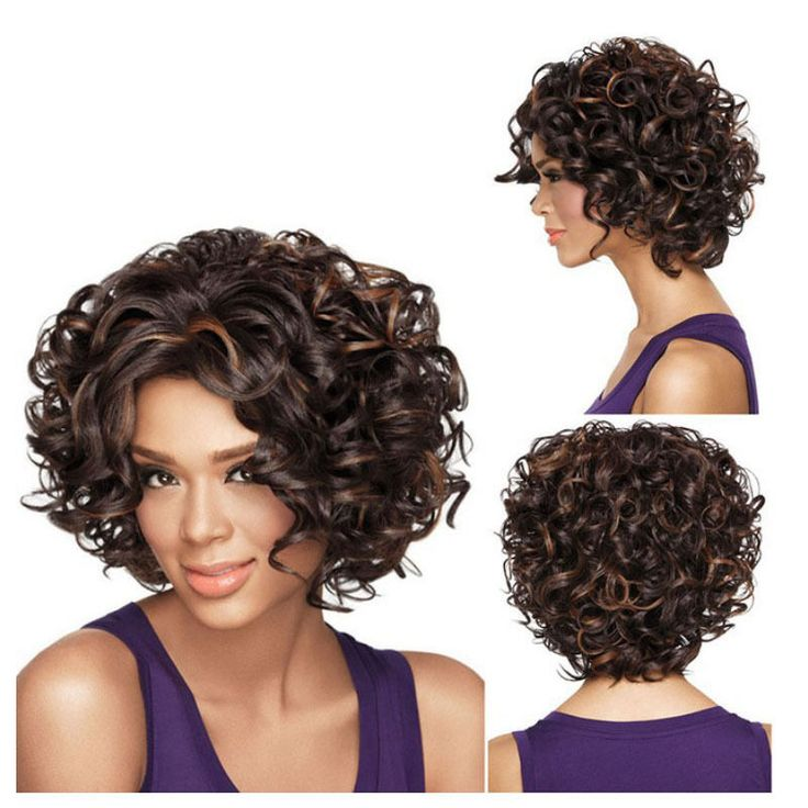 Sexy Women Short Wig Front Curly Hairstyle Synthetic Hair