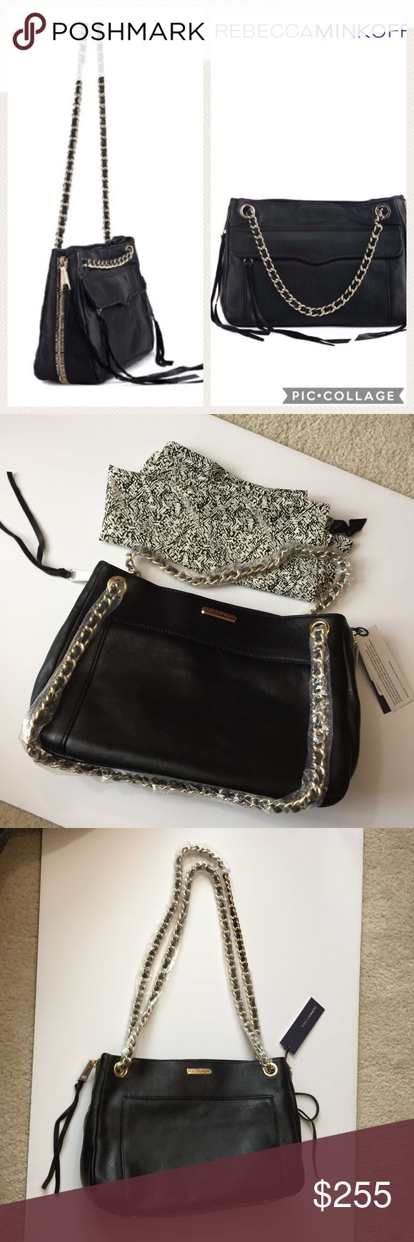 "NWT Rebecca Minkoff Black Swing Purse NWT Rebecca Minkoff Black Swing Purse. Approximately 11"" wide 7"" high and 4"" deep. Genuine leather. Side zippers open to expand interior space. Gold metal with black straps! Can be worn with one strap long or both straps short. Wearing either way allows to put purse over shoulder. Dust bag included. Rebecca Minkoff Bags Shoulder Bags"