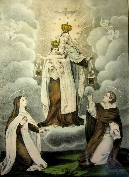 A 19th century American devotional image of Our Lady of Mount Carmel.