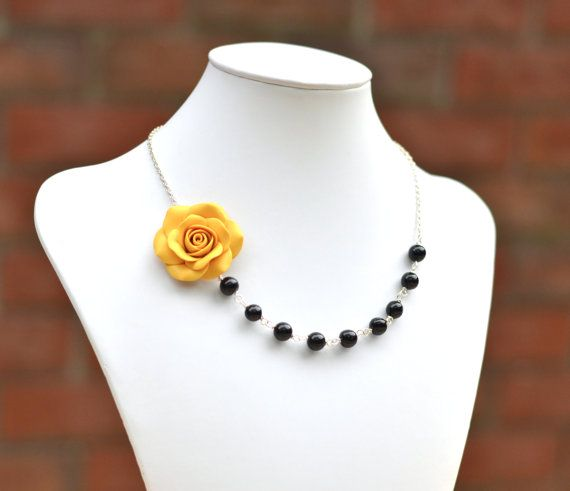 FREE EARRINGS Yellow Rose and Black Beads Necklace, Yellow Flower Necklace, Statement Necklace, Yellow Wedding Theme
