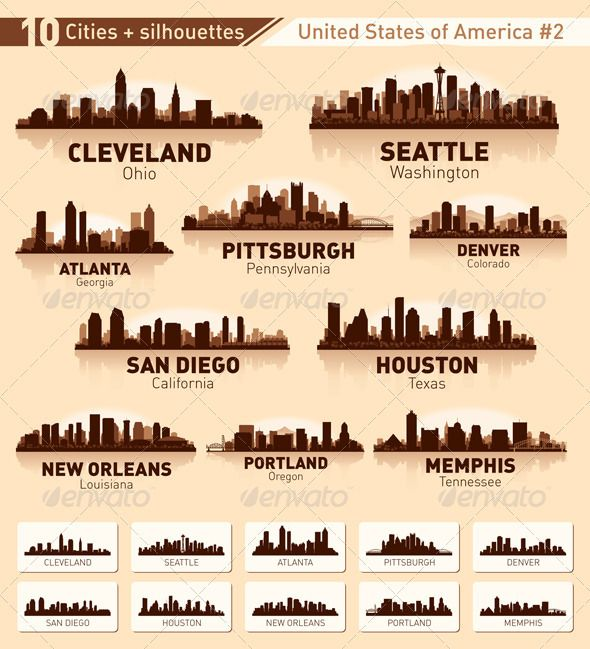 Skyline city set. 10 cities of USA #2 #GraphicRiver This is a set of 10 cities of the United States in the vector. Each city is made in three colors in shades of brown. Created: 1October12 GraphicsFilesIncluded: VectorEPS Layered: No MinimumAdobeCSVersion: CS Tags: SanDiego