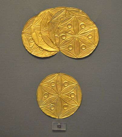 Golden Flower of Life petal rosettes from Mycenae, Greece, 1600 BC in the archaeological museum of Istanbul, Turkey