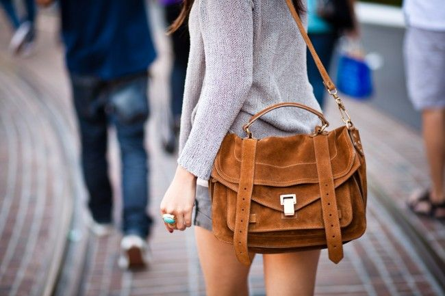 Want. Need. Proenza Schouler PS1 Medium in Tobacco Suede. To bad it's $1500. ::Sigh::