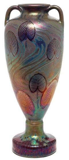 Clément Massier (1844-1917), Iridescent Glazed Decorated Ceramic Vase.