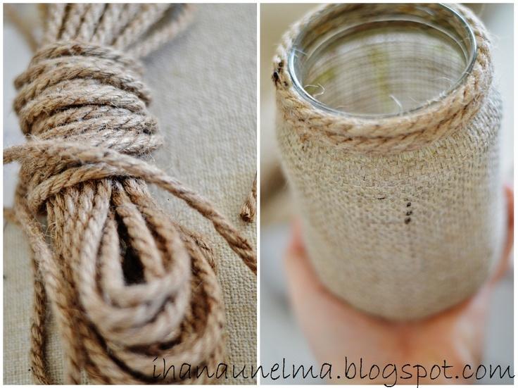 Decorating old jars.