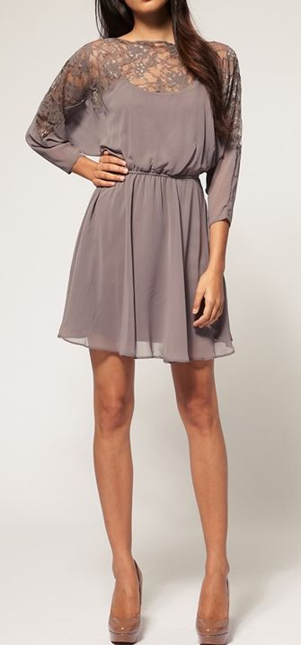 Grey lace shoulder dress
