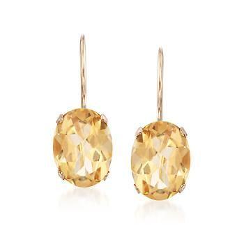 "Ross-Simons - 2.20 ct. t.w. Citrine Drop Earrings in 14kt Yellow Gold. 5/8""…"