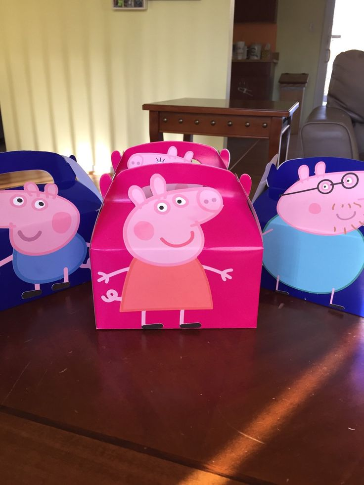 Peppa Pig favor boxes-1 per order by RowdyBoysDesigns on Etsy