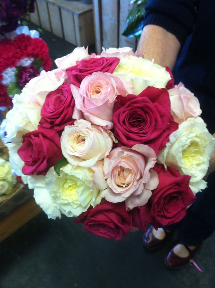 A mixed rose bouquet with highly fragrant David Austin roses.