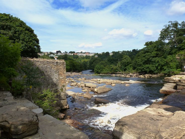 Beautiful Richmond, Yorshire, seen from the river Swale.