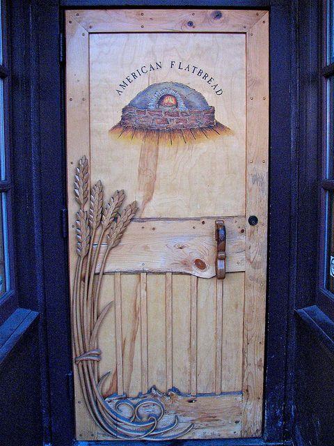 American Flatbread (est. 1985) • entry 115 Saint Paul Street, Burlington, Vermont - Beautiful carved wheat detail