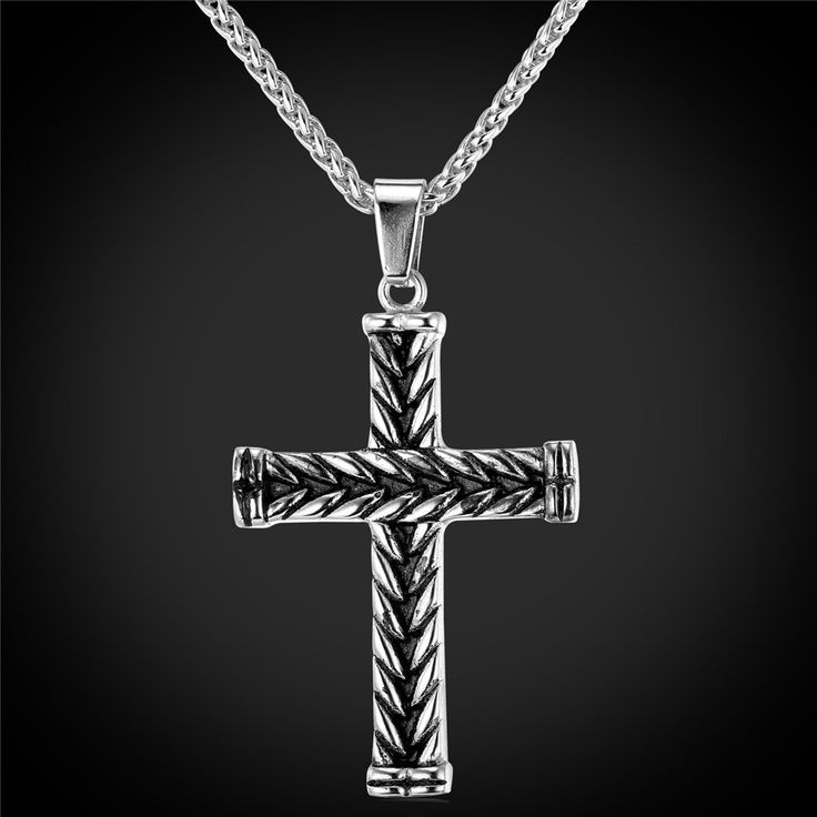 Men's Gold Plated Cross Pendant Necklace