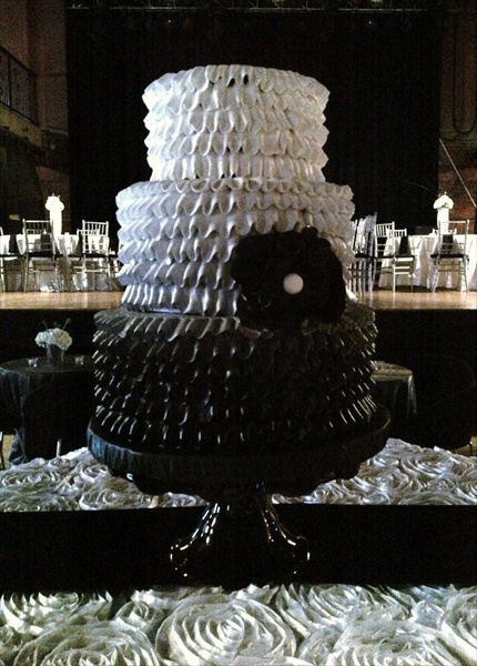 Ombre Ruffle Wedding Cake Black To White Black Cake