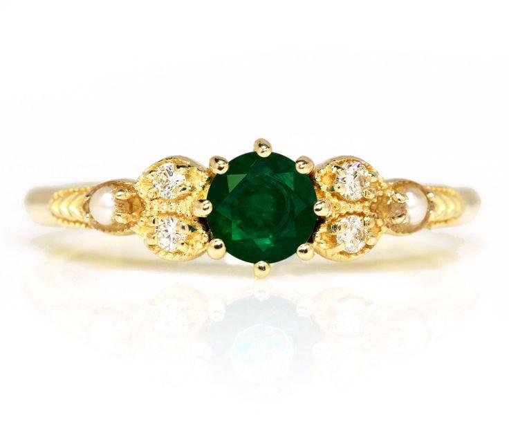 Vintage Smaragd Diamond Pearl Verlobungsring