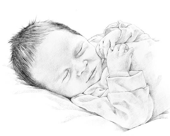 Baby portrait. Pencil drawing from photograph by Margaret Scanlan. Mothers Day Gift 10% discount during March
