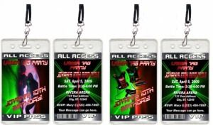 VIP pass laser tag invitations