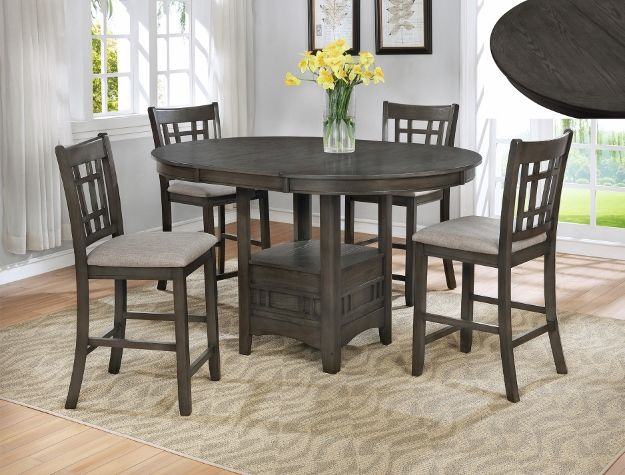 Cm2795gy T 4260 5 Pc Winston Porter Renshaw Hartwell Grey Finish Wood Counter Height Oval Dining Table Set Counter Table Set Dining Table Dining Table Setting