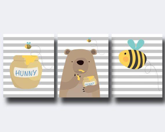 Bear and Bee Nursery Art Print, Baby Boy or Girl Wall Art, Boys or Girls Bedroom Elephant Decor- A117,A118& A119-Unframed    This listing is for 3 art
