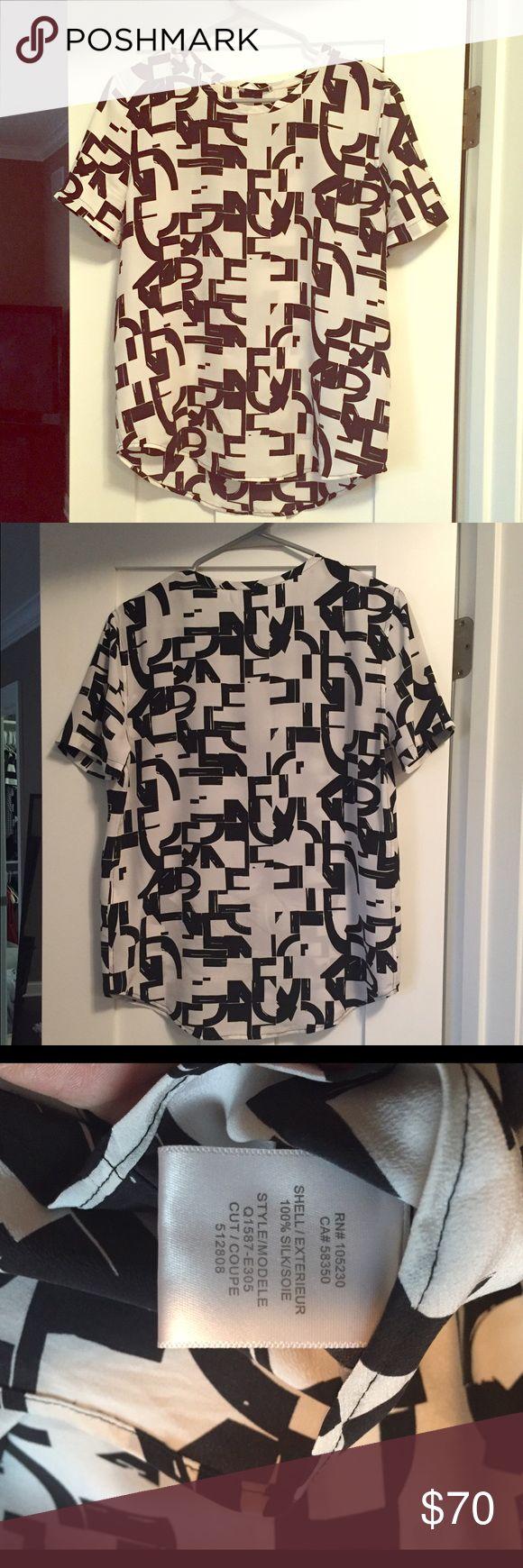 Equipment 100% Silk Blouse Black and white short sleeve blouse Equipment Tops Blouses