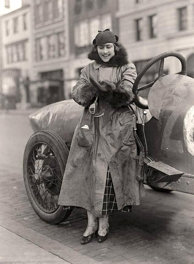"""Woman Auto Racer, Miss Elinor Blevins"", 1915."