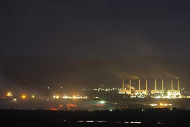 The view looking back onto the Morwell open cut mine fire on Thursday night of 28 February, 2014.