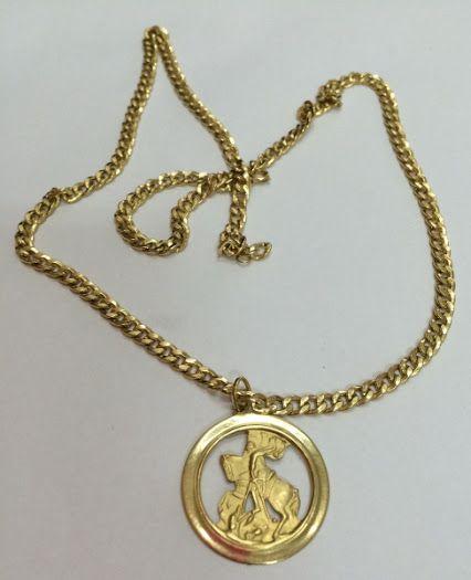Lindo cordão ouro 18k com pingente representando São Jorge. med. 60cm /13.5g