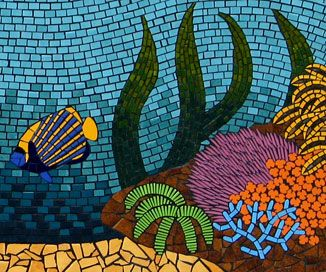 Closeup of Angel fish & corals on reef mosaic mural created in ceramic tiles by Brett Campbell Mosaics