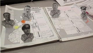 This wonderfully creative lesson has students creating pop up figures of 5 dictators who came to power in the 1920's and 30's before World War II. Included is a sheet with 5 people to cut out: Adolf Hitler, Joseph Stalin, Francisco Franco, Benito Mussolini, and Hideki Tojo. Students then place these onto an included world map that covers 2 pages of their notebooks with spaces for notes about each person from an included powerpoint presentation.