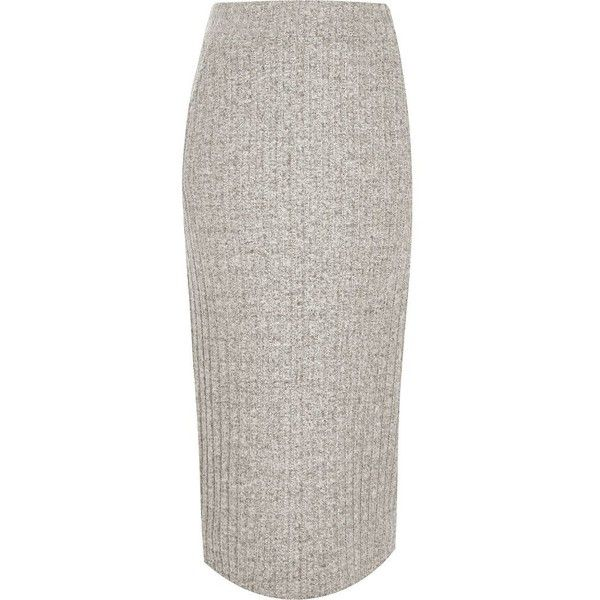 River Island Grey ribbed knit midi skirt (92 BGN) ❤ liked on Polyvore featuring skirts, grey, midi skirts, women, river island, midi skirt, calf length skirts, gray skirt and ribbed skirt
